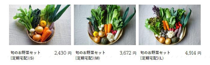 坂ノ途中の野菜セットのサイズは3種類